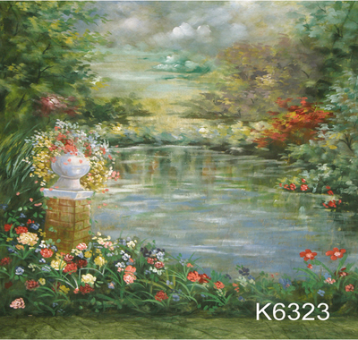 10x20ft peint À la Main Toile De Fond De Mousseline Scénique photo Fond, printemps fleur de mariage photographie bacodrops, service personnalisé K6323