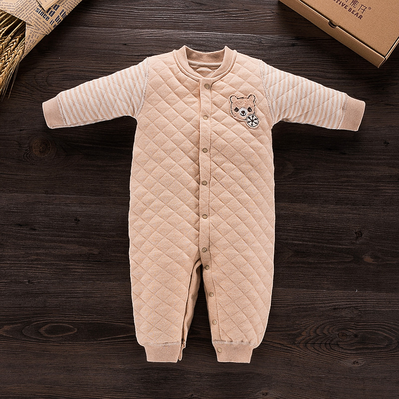 100% Organic Cotton Baby Rompers Long Sleeve O-Neck Newborn Jumpsuit Infant Coveralls Thicken Baby Clothing simba organic cotton baby pillow