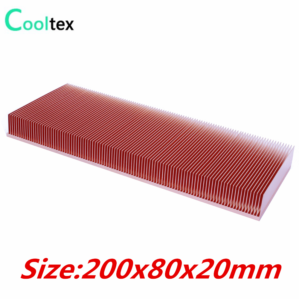 (high Power) Pure Copper Heatsink 200x80x20mm Skiving Fin Heat Sink Radiator For Electronic Chip LED Cooling Cooler 10pcs lot ultra small gvoove pure copper pure for ram memory ic chip heat sink 7 7 4mm electronic radiator 3m468mp thermal
