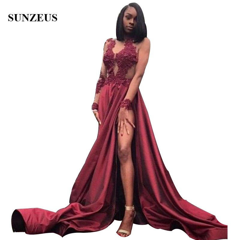 Candid Custom Made Sheer Long Sleeves Thigh-high Slit Prom Dresses 2019 Appliques Side Split Appliques Burgundy Evening Party Gown Agreeable Sweetness Prom Dresses