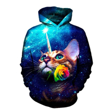 Cool colorful 3D all-over-print cat love hooded sweatshirts