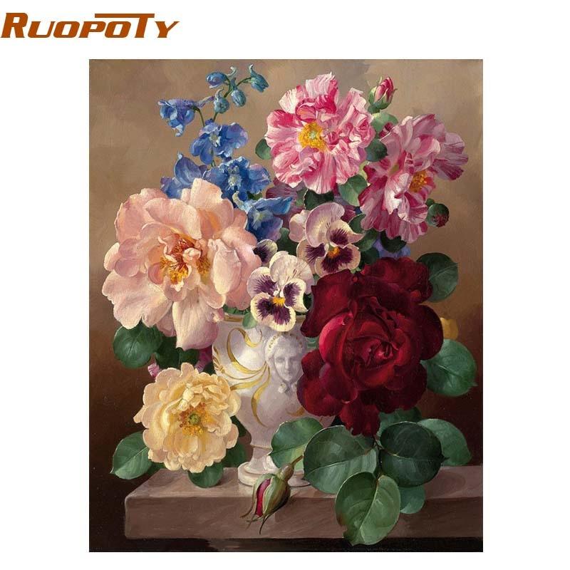 RUOPOTY marco mágico flor Diy pintura por números arte de la pared pintura al óleo abstracta pintada a mano para la decoración del hogar