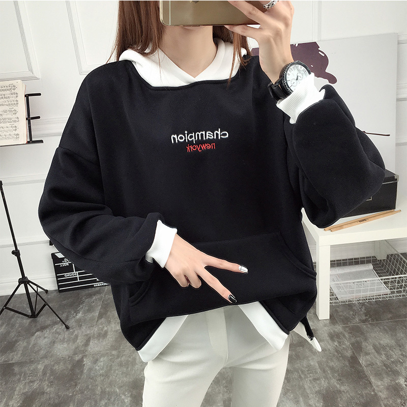 Cotton 2019 Fashion Women Solid Color Hoodie Harajuku Long Sleeve Hoody Hoodies Woman Pullovers Long Sleeve Patchwork Sweatshirt thumbnail