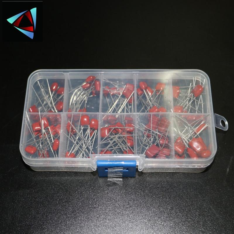 100 шт./лот 10nF ~ 470nF металлизированные Полиэфирные пленочные конденсаторы, ассортимент, набор высокоточных и стабильных образцов, набор конде...