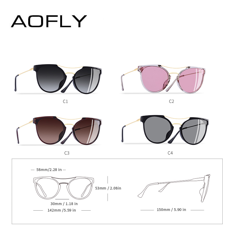 Image 4 - AOFLY BRAND DESIGN Fashion Sexy Cat Eye Polarized Sunglasses Women 2020 Sunglasses Classic Gradient Eyewear Oculos UV400 A116Womens Sunglasses   -