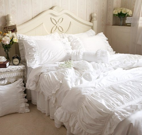 FADFAY Home Textile High Quality 100%Cotton White Bedding Sets Beautiful Snow White Ruffle Lace Duvet Cover Bedding Set All Size
