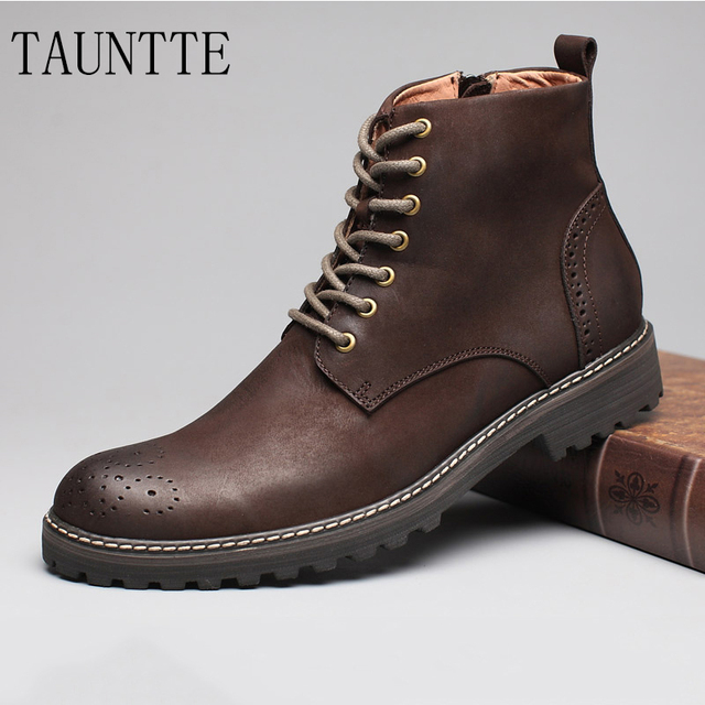 Tauntte Winter Cow Leather Ankle Boots Men Retro Bullock Carving Flower Martin Boots botines hombre bota masculina erkek bot