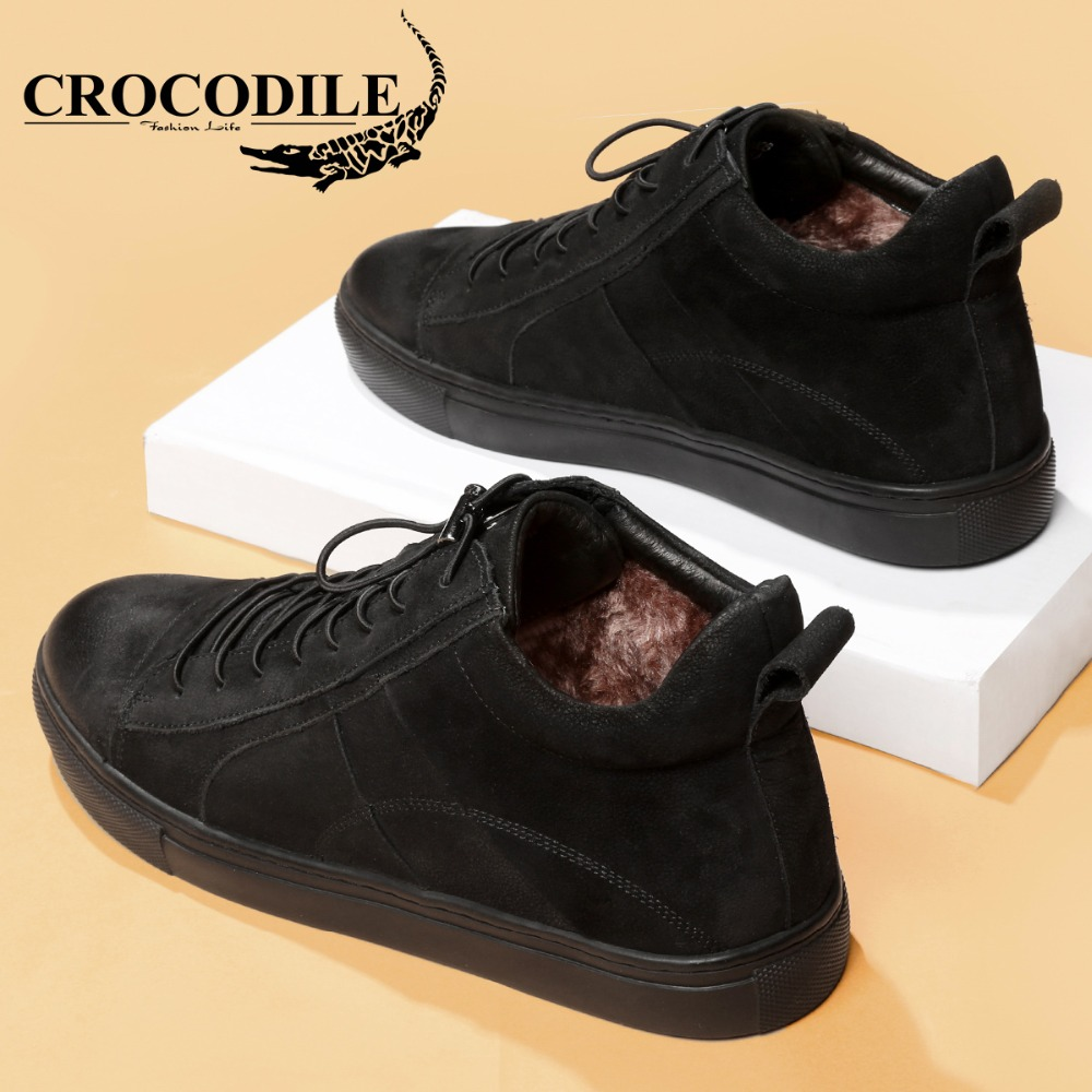 Crocodile Hiver Hommes Planche À Roulettes chaussures de baskets Hommes de Velours Véritable chaussures en cuir de Sport Sport chaussures de skate pour Hommes offBlack