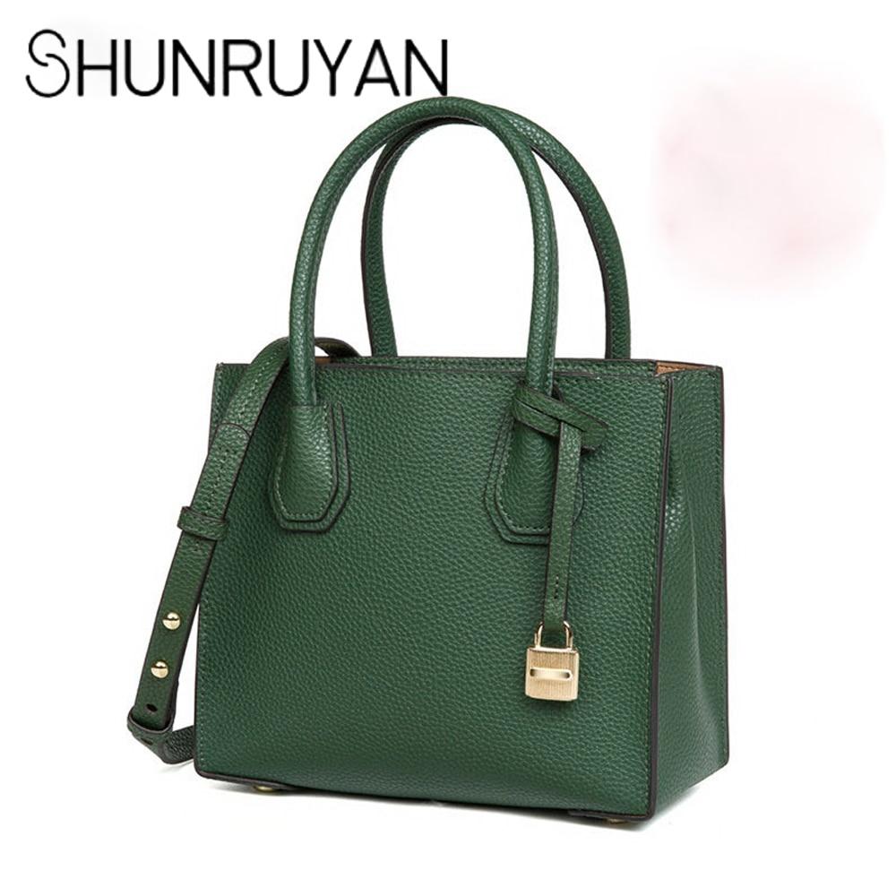 SHUNRUYAN Mode Célèbre Marque Designer Véritable En Cuir BagsHandbags Épaule Bandoulière Sacs Femmes Totes Menssenger Sac