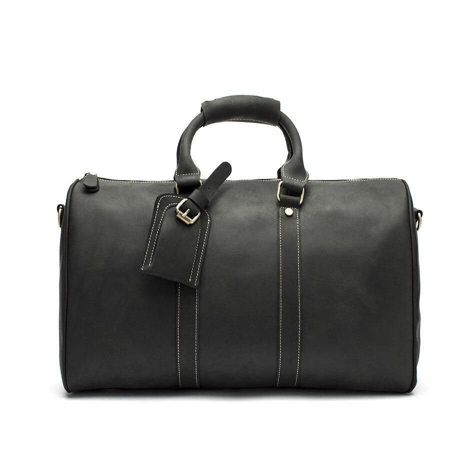 Hot Koop Lederen Tas Mode Top Laag Koe Lederen Mannen Grote Reistas Designer Eenvoudige Patchwork Zwarte Hand Tas
