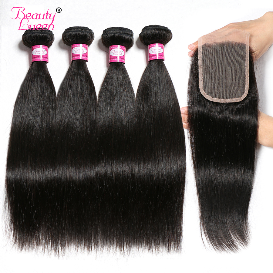 Human Straight Hair Bundles With Closure Brazilian Hair Weave 4 Bundles With Closure NonRemy 4x4 Lace Closure Hair Extensions