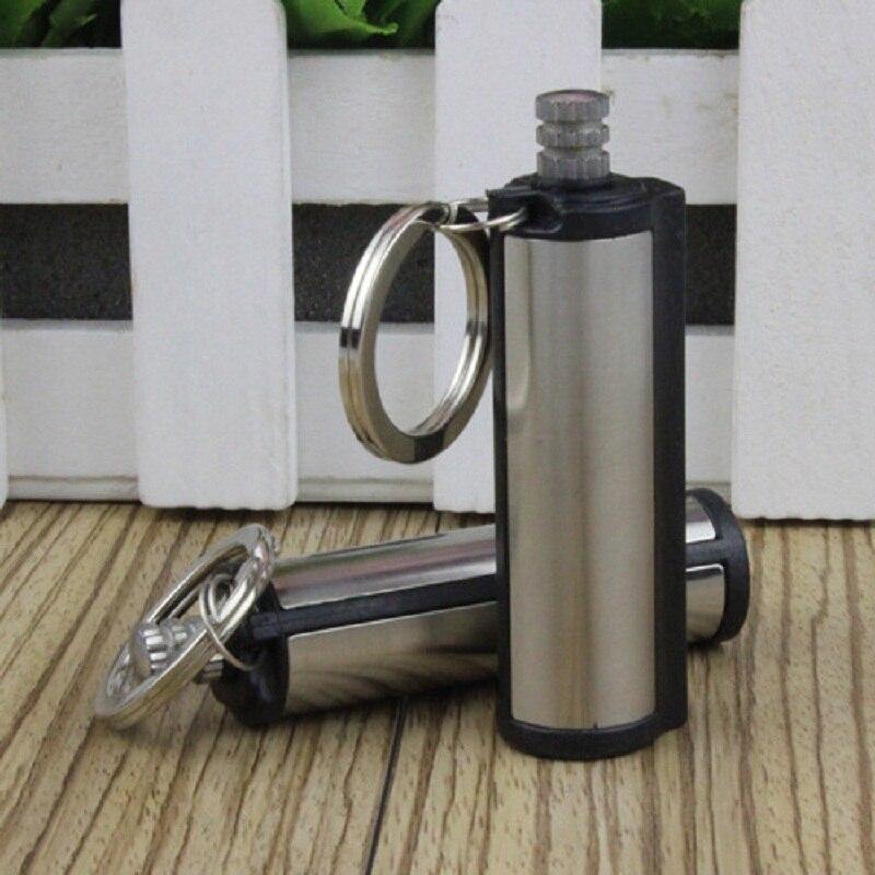 Moda Permanente Partita Attacco rettangolare Olio Accendini con Portachiavi D'argento In Tutto Il Mondo Matchstick portatile olio più leggero