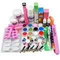 Acrylic Nail Kit Clear Pink White Acrylic Powder Liquid Brush Nail Kit Glitter Clipper File Glue Nail Art Tips Set Kit