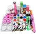 Kit para Uñas de acrílico Claro Rosa Blanco Polvo de Acrílico Líquido Brush Kit de uñas Glitter Clipper Pegamento Archivo Nail Art Tips Set Kit