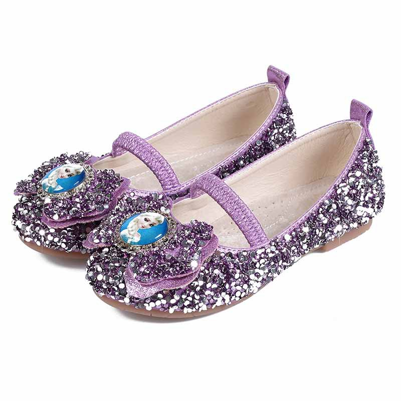 Children Princess Shoes Girls Sequins Wedding Party Kids Baby Enfants Hot Shoes For Girls Blue Purple Silver Color School Dance