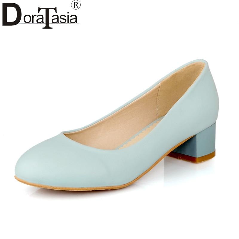 DoraTasia Women's Classic Square Low Heel Office Shoes Woman Round Toe Slip On Comfortable Pumps Big Size 32-43