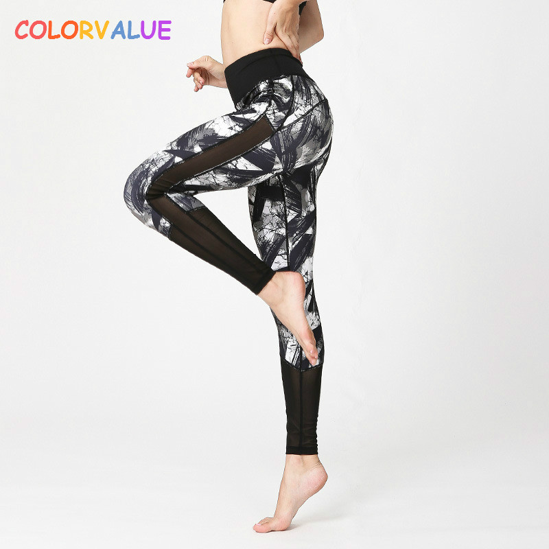 Colorvalue Geometry Printed Sport Leggings Women Patchwork Mesh Gym Yoga Pants Elastic Athletic Leggings Yoga Clothes Sportswear