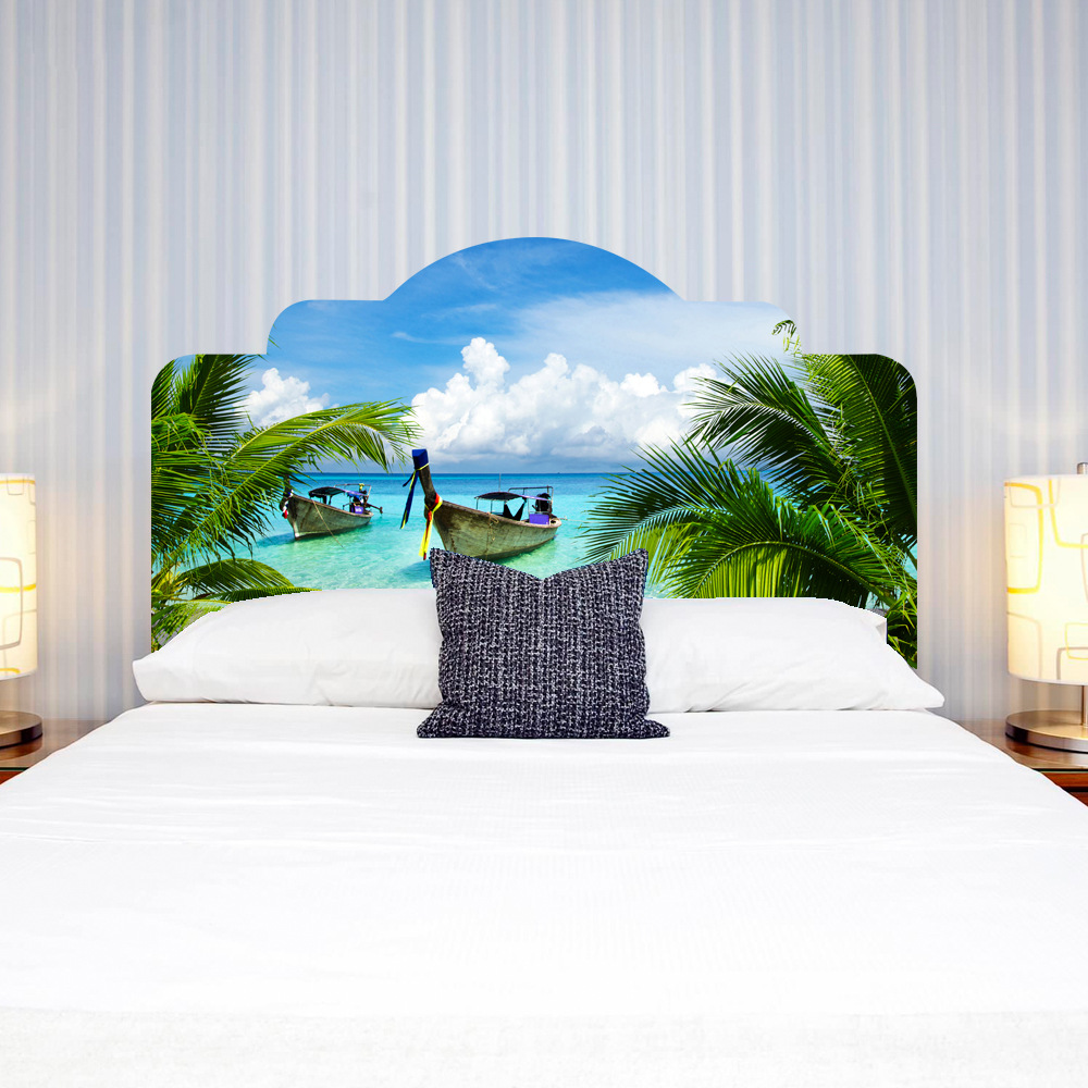 Creative DIY 3D Fake Bedhead Wall Stickers Tropical Island Vacation Pattern for Bedroom Wall Decoration Large Mural Art Decal