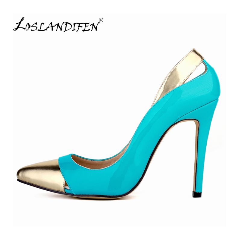 LOSLANDIFEN Classic Sexy Pointed Toe mixed color High Heels Women Pumps Shoes Spring Brand Wedding Pumps Big Size 35-42 302-1MIX sexy pointed toe high heels women pumps shoes new spring brand design ladies wedding shoes summer dress pumps size 35 42 302 1pa