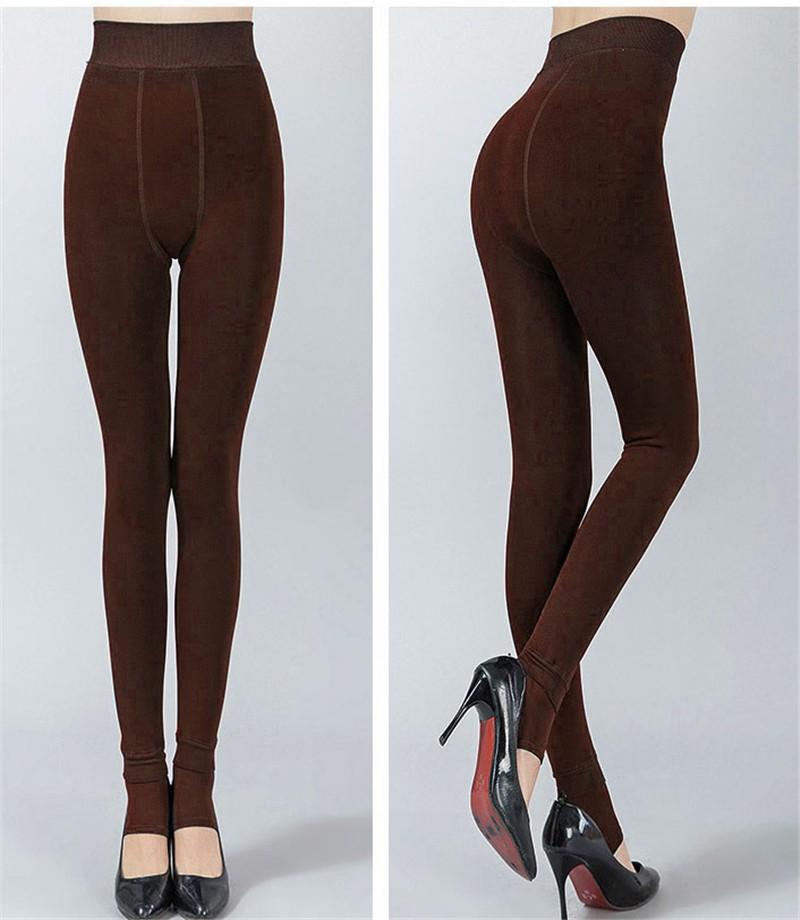 NORMOV Women's Winter Plus Cashmere Leggings Fashion Big Size Warm Super Elastic Faux Velvet Winter Thick Slim Leggings 14