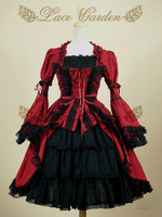 Cotton Sweet Lace Gothic Lolita Dress With Removable Flare Sleeve L25