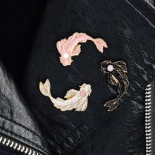 Pink White Black Brooch Cute Goldfish Carp Enamel Pin Denim Lapel Fish Badge Family Kid Blessing Gifts Personality Jewelry(China)