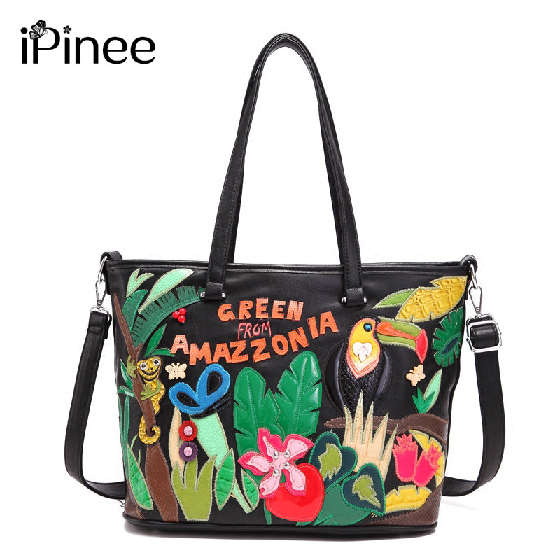 iPinee New Large Capacity Cartoon Nature Tropical Rain Forest Embroidery Bag Women Handbag Birthday Gift