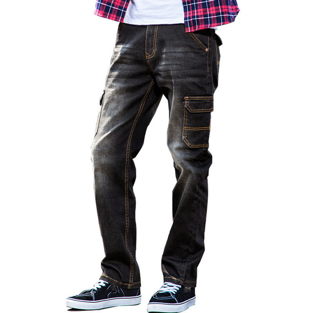 3388253ef2ce0 MORUANCLE New Men s Baggy Cargo Jeans Pants Casual Loose Tactical Denim  Trousers For Big And Tall Multi Pockets Plus Size 28-42