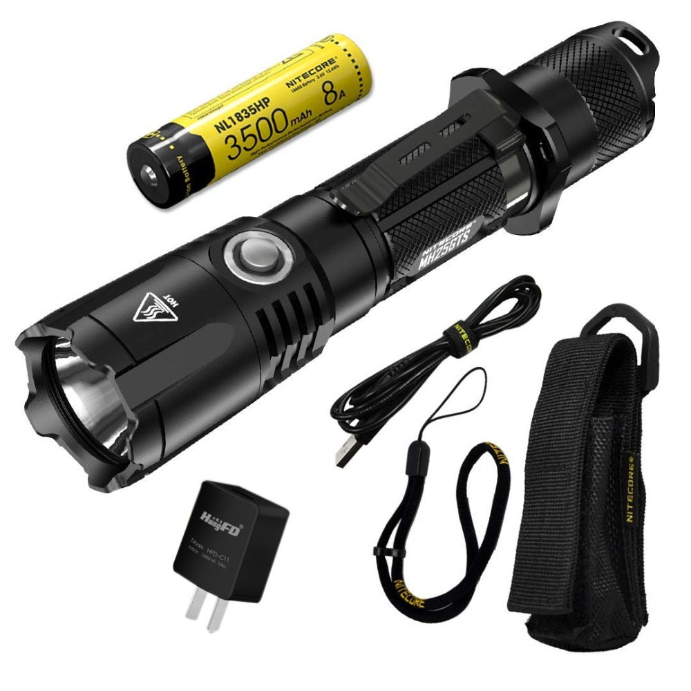 NITECORE MH25GTS 1800LM Tactical CREE XHP35 HD LED Waterproof High Performance Tactical Flashlight Outdoor Torch + 18650 Battery nitecore ec4gts 1800lm high performance blazing searchlight 396 meter torch hunt outdoor hiking camping flashlight free shipping