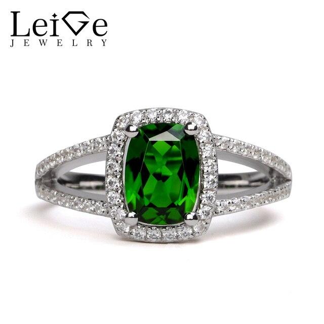 Leige Jewelry Chrome Diopside Ring 6 8mm Cushion Cut Gemstone