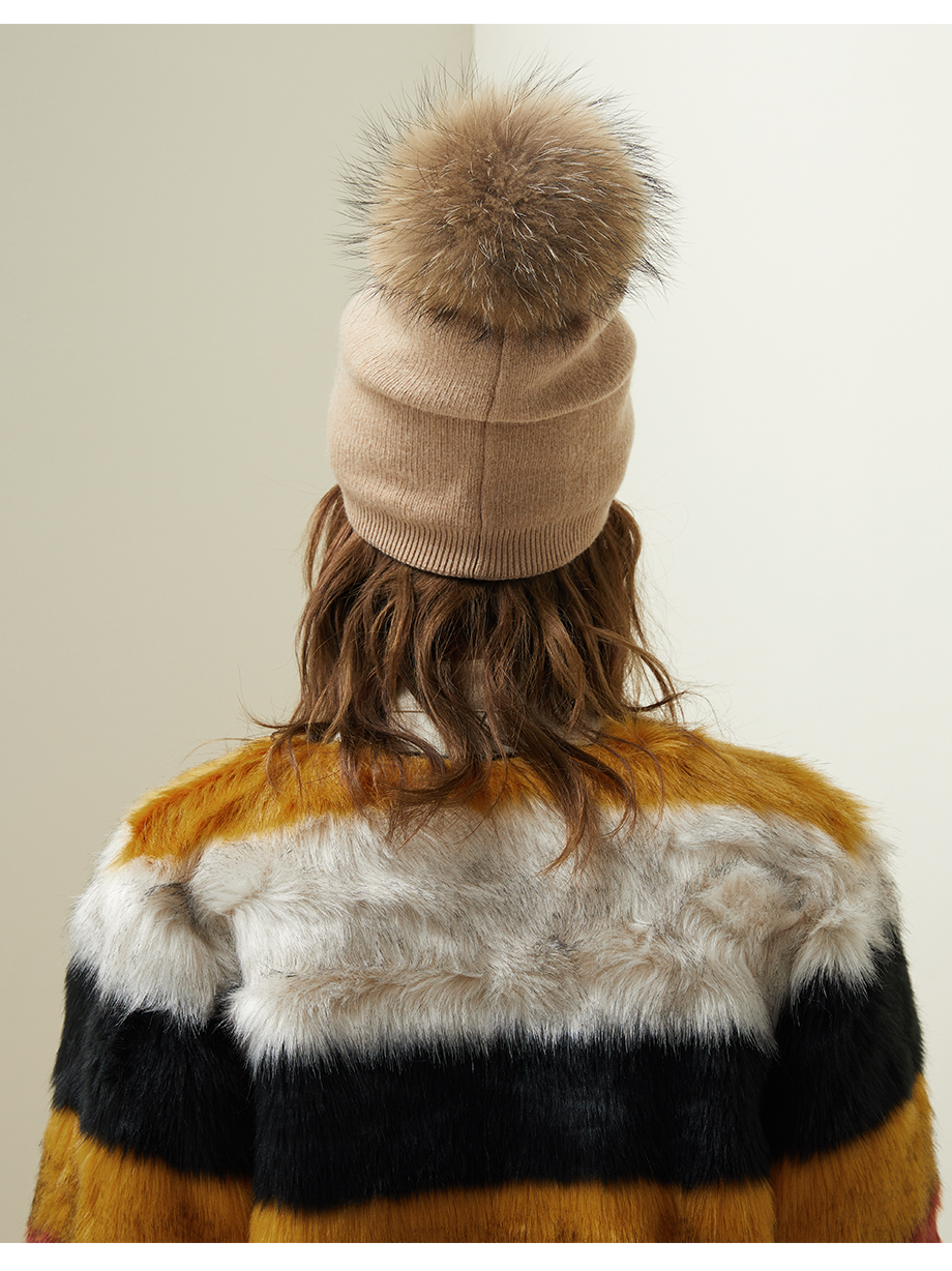 Autumn Winter Beanies Hat For Women Knitted Wool Skullies Casual Cap With Real Raccoon Fox Fur Pompom Solid Colors Ski Beanie (11)
