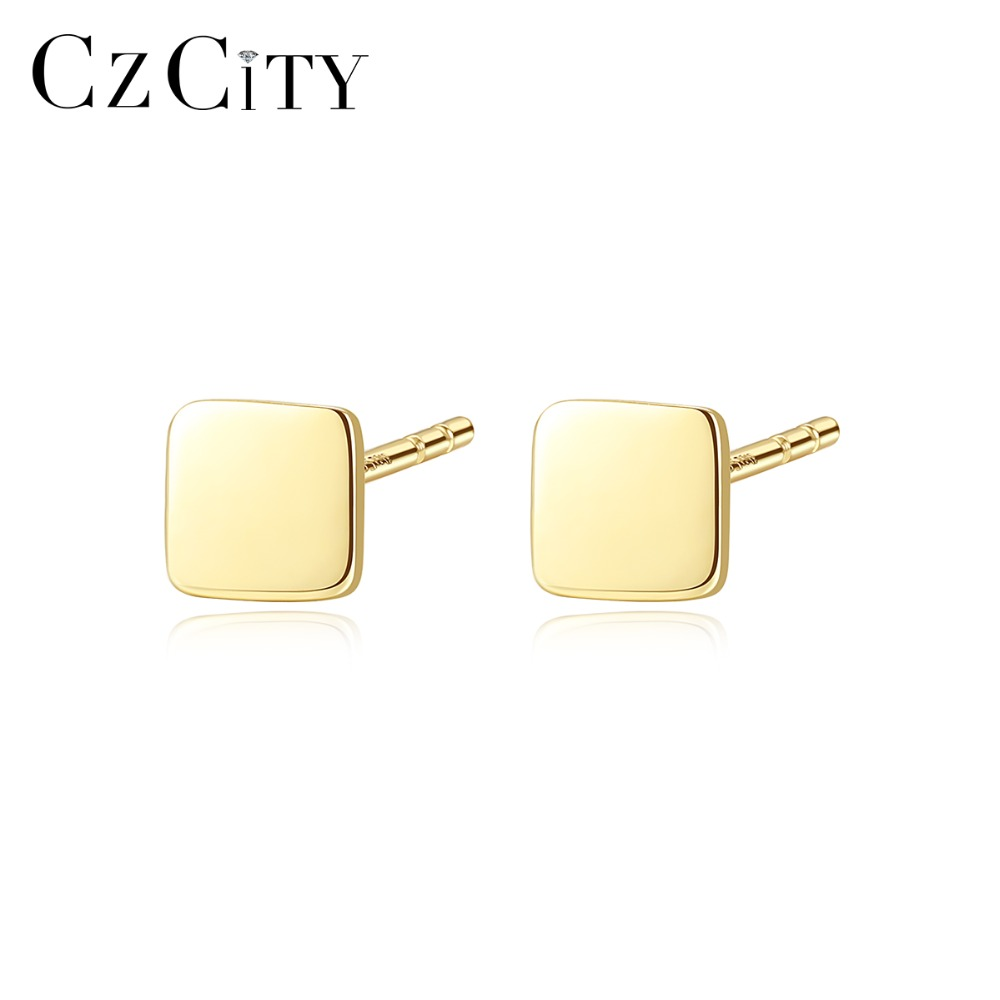 CZCITY New Genuine 14K Yellow Gold Cute Square Stud Earrings for Women Simple Daily Wear Earrings Fine Jewelry Gifts Carve Au585