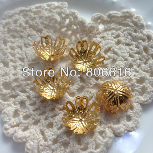 16MM 500Pcs Gold Color Metal Bead Caps Jewelry Accessories Findings