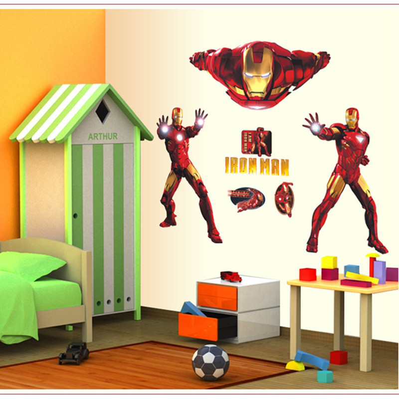 Cool Iron Hero Wall Decor Stickers For Kids Room Boys ... on Room Decor Stickers id=83707