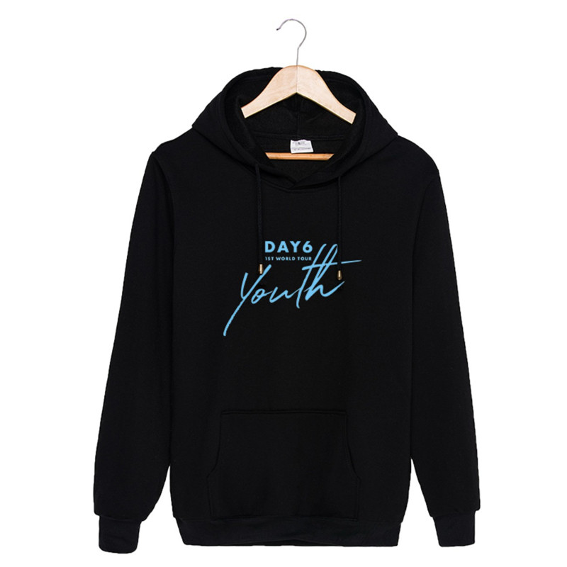 KPOP DAY6 1ST WORLD TOUR Youth Hoodies Hip Hop Hooded Long Sleeve Tops Pullovers Sweatshirts PT837