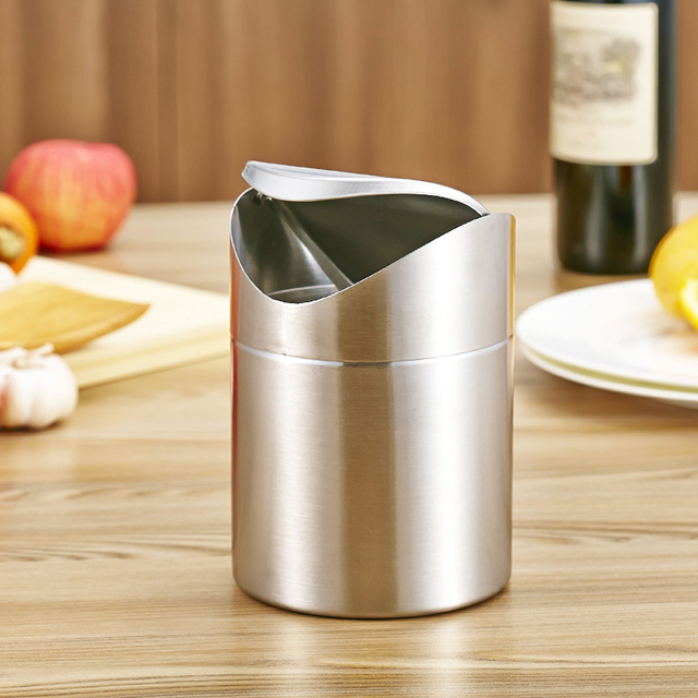 High Quality 1 5l Home Small Recycling Bin Swing Lid Kitchen Table Tidy Stainless Steel Dustbin