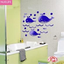 Cartoon Marine life whale 3D acrylic wall stickers bathroom kids room kindergarten bedroom living room decoration wall stickers