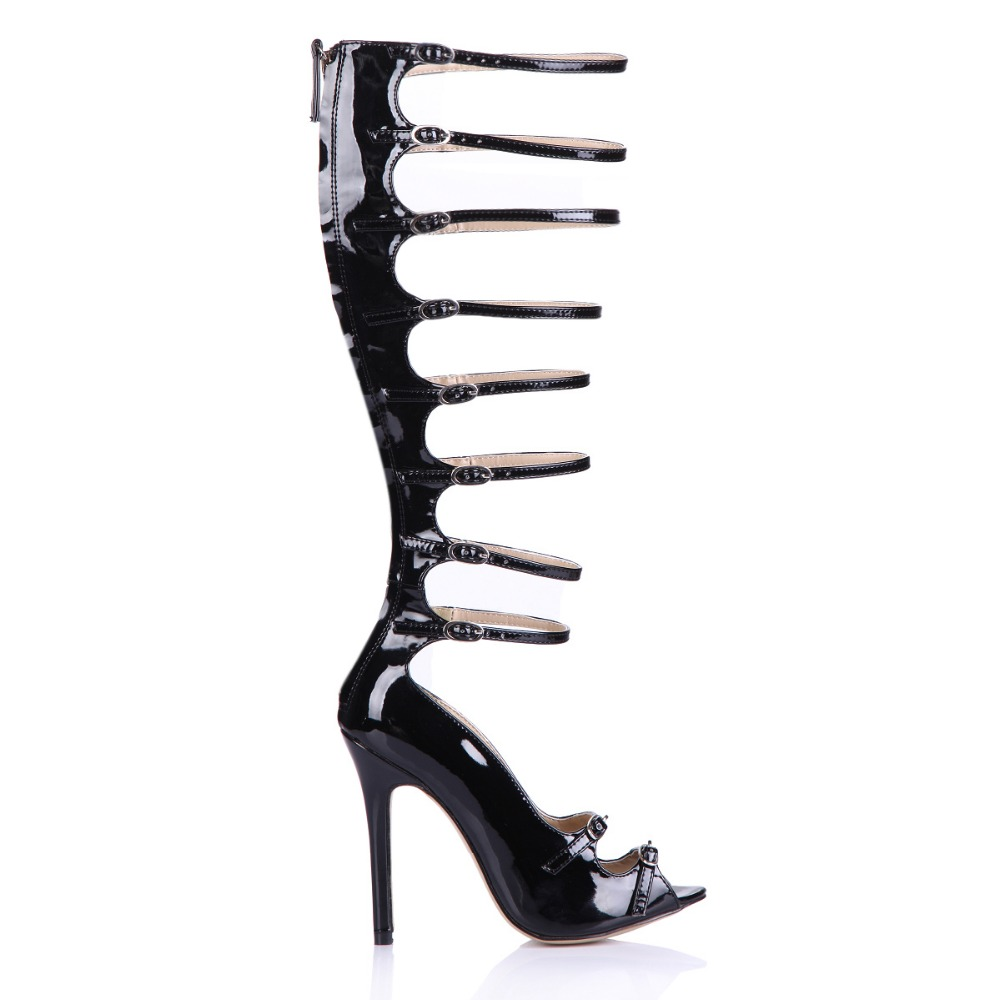 plus size 35-43 sexy open toe knee high boots gladiator women sandals summer buckle shoes rome ladies patent leather long boots handmade high quality 2017 summer new knee high boots gladiator women sandals boot real leather flats casual shoes black size 41