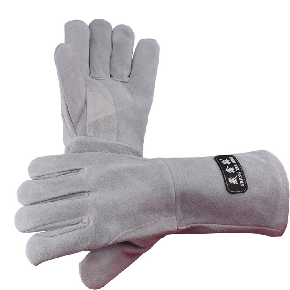 02 New double velvet full leather electric welding wear-resistant high temperature welder anti-cut welding protective gloves wear resistant cowhide welding leather sleeves of welder clothing with high temperature resistance working safety sleeves g0823