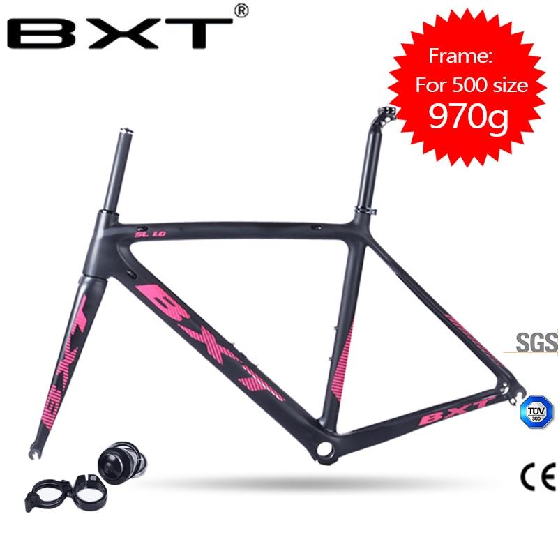 все цены на Carbon Road Bike Frame 2017 BXT Di2 and Mechanical 500/530/550mm Super Light carbon road Frame+Fork+headset carbon bicycle frame онлайн