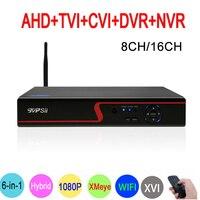 1080P/960P/720 CCTV Camera Red Panel Xmeye Hi3521A 1080N 16CH/8CH 6 in 1 WIFI Coaxial Hybrid TVi CVI NVR AHD DVR FreeShipping
