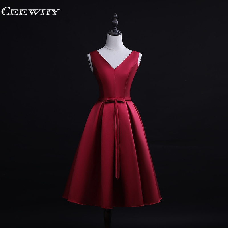 CEEWHY V-Neck Burgundy Satin Formal   Dress   Short Wedding Party   Dress   Elegant   Cocktail     Dresses   Vestidos Mujer 2018   Cocktail