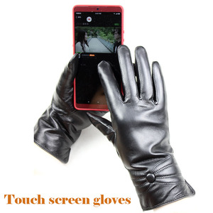 Image 3 - Sheepskin leather gloves womens thick winter warm white rabbit fur lining new ladies touch screen gloves