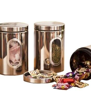 Caliente 3 uds Ventana de acero inoxidable lata para té café azúcar tarro para nueces conjunto de almacenamiento (Plata)