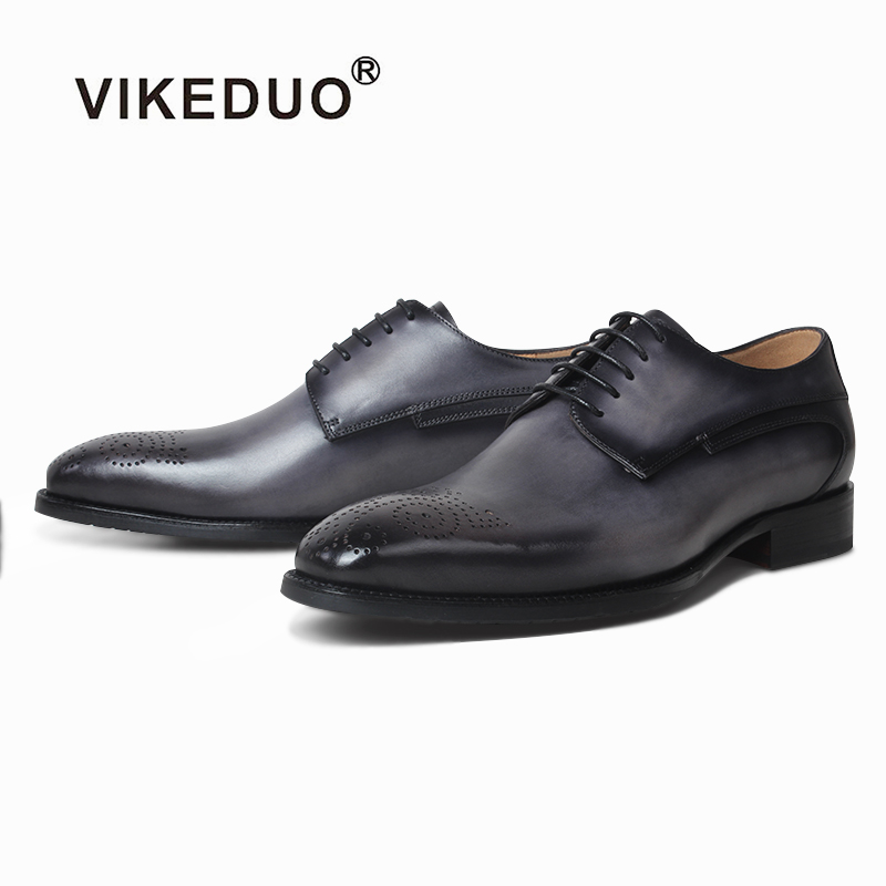 VIKEDUO Handmade Leather Shoes Mens Brogues Patina Derby Dress Wedding Office Formal Business Mans Footwear