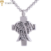 YimYik Wings Cross Cremation Jewelry Silver Urn Necklace Pendant Memorial Keepsake Necklace for lover's jewelry