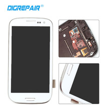 100% Tested White LCD Display Touch Screen with Digitizer Full Assembly Repair Parts with Frame For Samsung Galaxy S3 SIII I9300