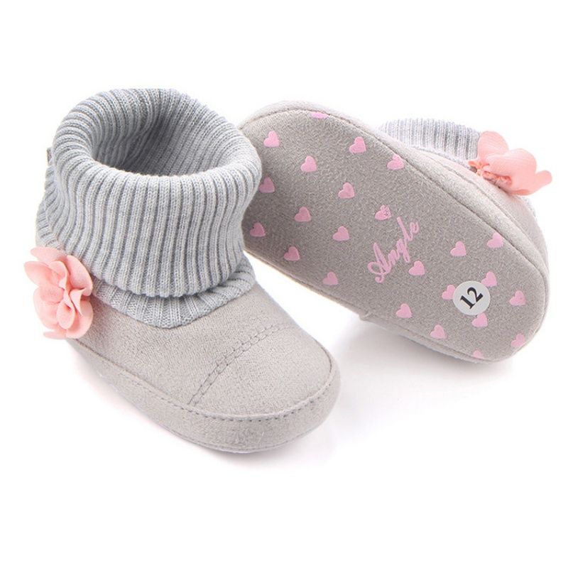 2018 Autumn Winter Children Shoes Cute Baby First Walkers Kids Newborn Toddler Super Warm Flower Boots