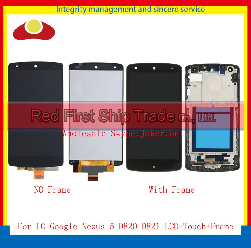 10Pcs/lot 4.95 For LG Google Nexus 5 D820 D821 Full Lcd Display Touch Screen Digitizer Assembly Complete With Frame Black new lcd touch screen digitizer with frame assembly for lg google nexus 5 d820 d821 free shipping