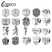 CUTEECO Beads Fit Pandora DIY Bracelet Necklace Pendant Accessories Original Jewelry Style Alloy Crown Love Heart Charms
